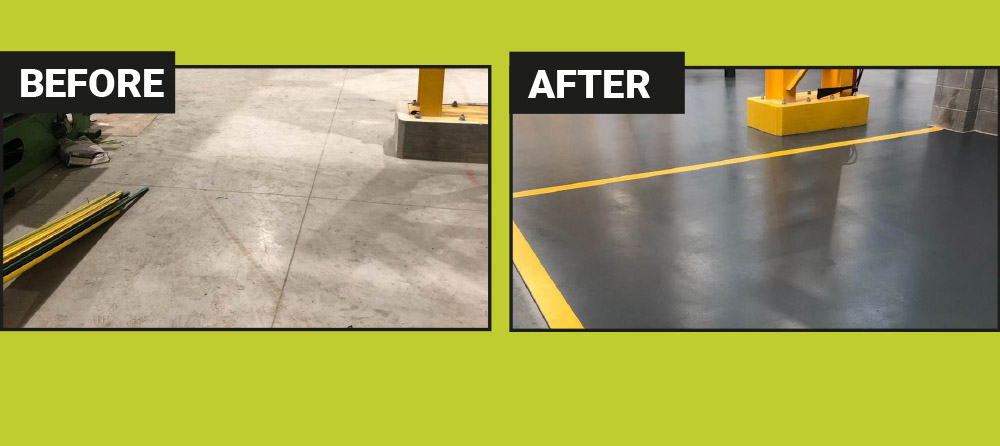 Before/After picture of a floor